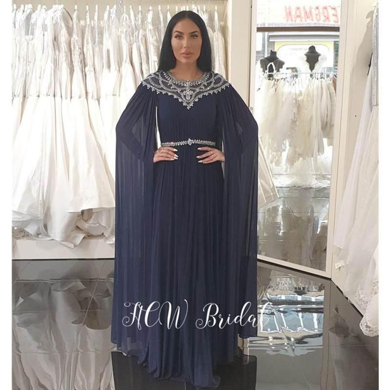 Gorgeous Long Sleeve Navy Blue Arabic   Evening     Dress   Exquisite Beaded Chiffon A Line Long Prom Gowns Custom Made 2019 New Arrival