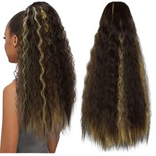 Kinky Straight Ponytail For Women Synthetic High Quality Drawstring Afro Yaki Hair Extensions 22Inches Long Hair ponytail