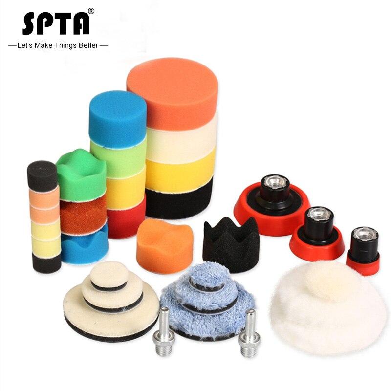 Spta 29 pces 1/2/3 polegada encerando esponja almofada de polimento almofadas de lã placa de apoio sistema ferramenta de polimento do carro para da/ro máquina de polimento
