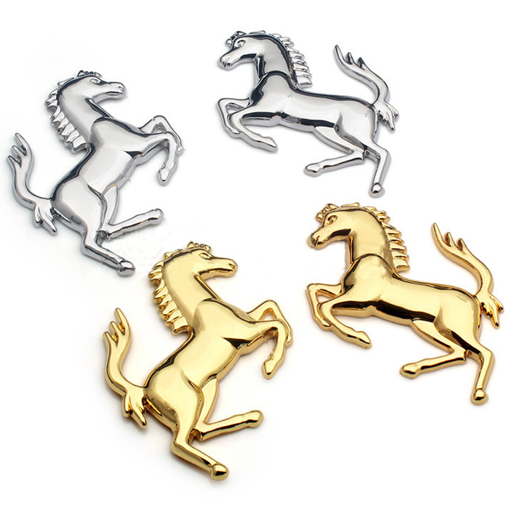(Left Right means the Horse head direction)Home Car Silver Gold Metal Stainless Ferrari Style Horse Badge Emblem 3D Metal Sticke|Wall Stickers|   - AliExpress