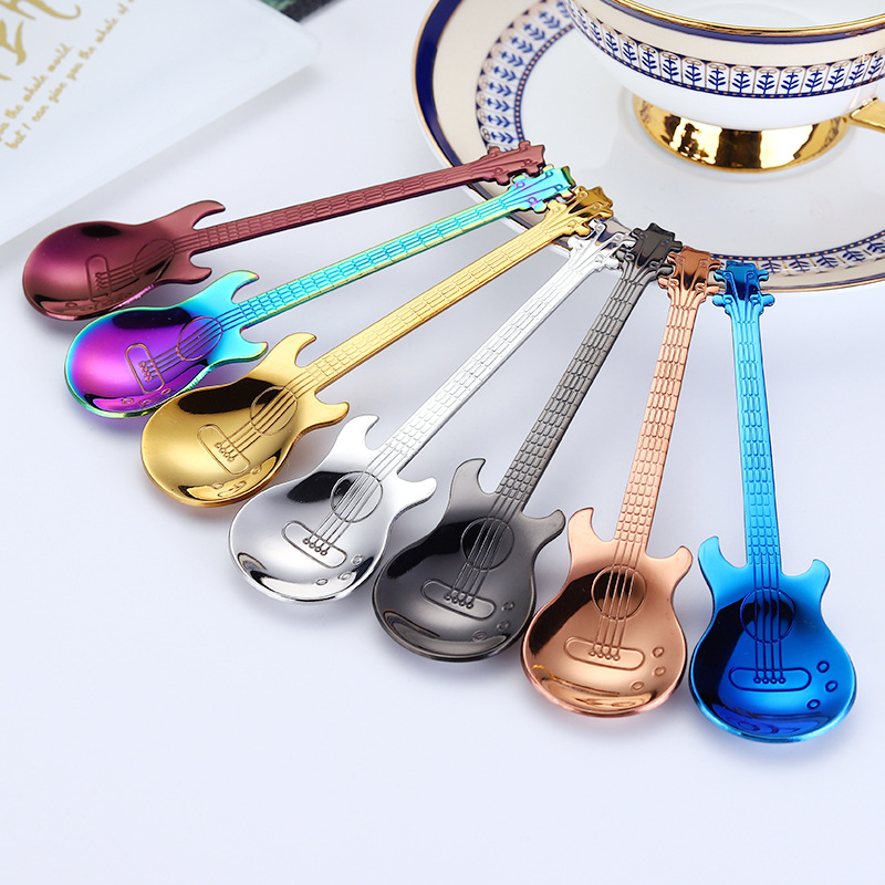 Tea Scoop Colorful Guitar Coffee Spoon Dessert Cutlery Tea Spoon High Quality Stainless Steel Coffee Teaspoon Kitchen Accessory