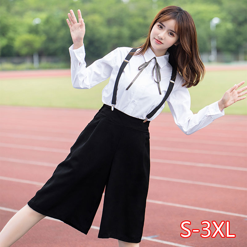 Fashion Japanese Plus Size School Girl Uniform 4XL White Shirt Suspender Trousers Sets Women Chorus Performance Clothes