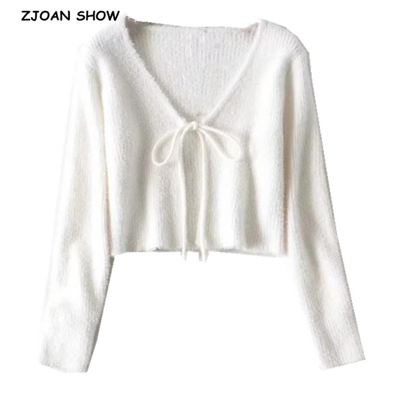 2020 French V Neck Lacing Up Strappy Knitted Shaggy Cardigan Sweater Retro Woman Long Sleeve Short Jumper Sexy Kleding Jerseis