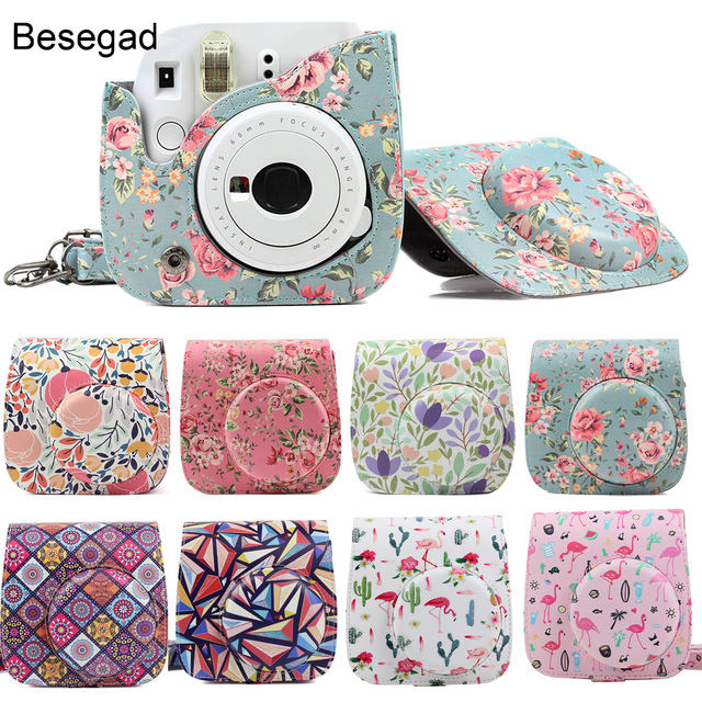Besegad PU Leather Camera Case Holder Pouch with Shoulder Strap for Fujifilm Instax Mini 8 8+ 9 Instant Camera Bag Accessories