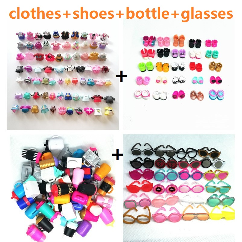 1 Set Doll Accessories For LOL 8cm Doll Clothes Bottles Shoes Glasses DIY Toy Girls Kids Gifts Randomly