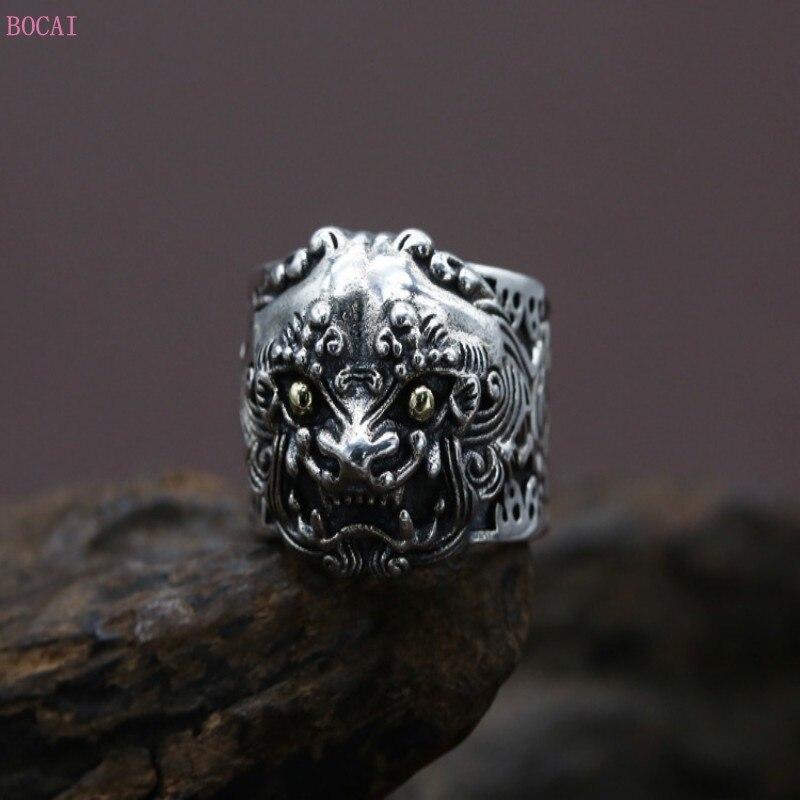 Vent chinois reconstituant des manières antiques Thai argent le mythique animal sauvage personnalité mâle anneau anneau ouverture largeur anneau