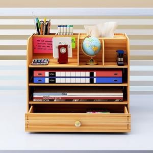Image 3 - Large Multi Function DIY Desktop Storage Box Wooden Office Multi layer File Rack Supplies File Book Organizer Bookshelf