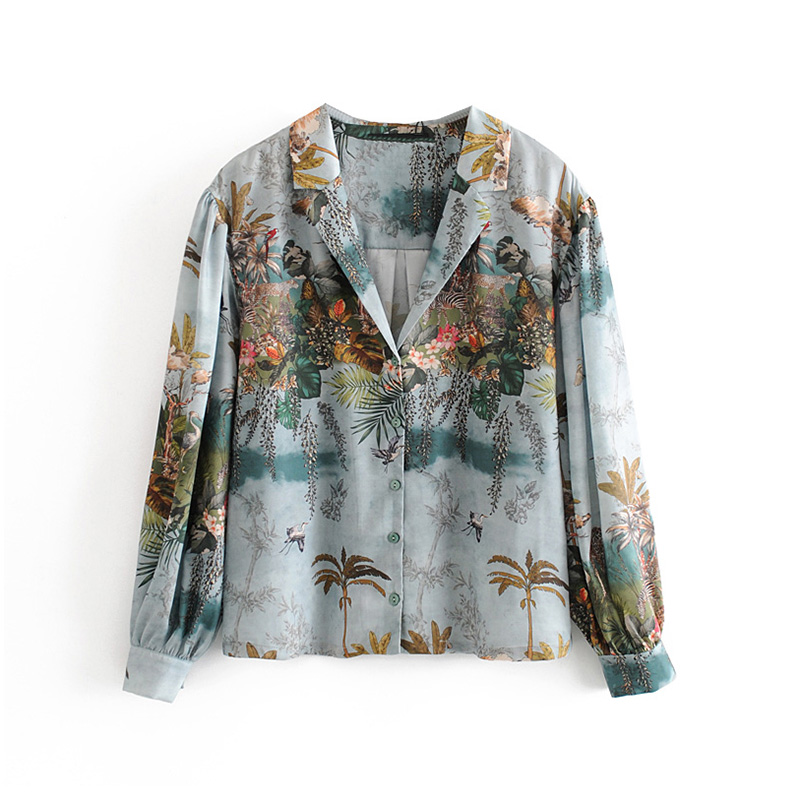 Aachoae Women Casual Floral Print Satin Blouse Casual Loose Tops Ladies Turn Down Collar Lantern Long Sleeve Vintage Shirt Blusa 5