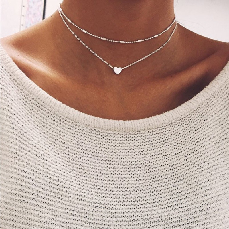 Simple Hearts Multilayer Necklace Female Personality Creative Pendant Clavicle Chain Necklaces for Women Collares Jewelry XL578