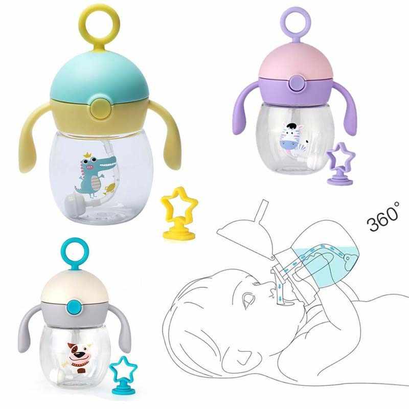 240ml Cute Baby Bottle Infant Newborn Children Learn Feeding Drinking Bottle Kids Tritan Non Spill Portable Straw Water Bottle Aliexpress