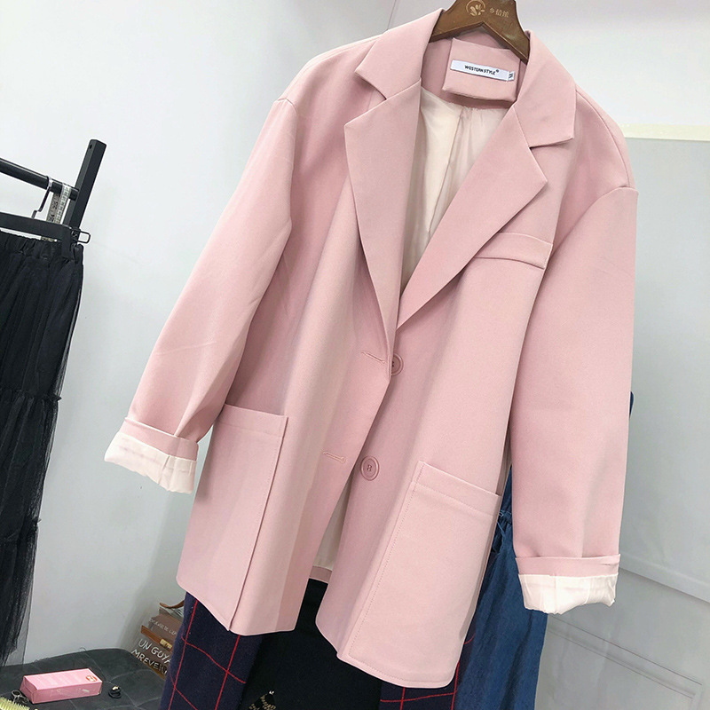 Women's coat Fall 2020 new ladies casual solid color large pockets loose small suit jacket Fashionable feminine blazer