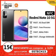 [Lanzamiento mundial En stock] Xiaomi Redmi Note 10 5G NFC 4+64/128GB Versión global Smartphone Procesador Dimensity 700 Display 90Hz FHD+ Cámara 48MP 5000mAh