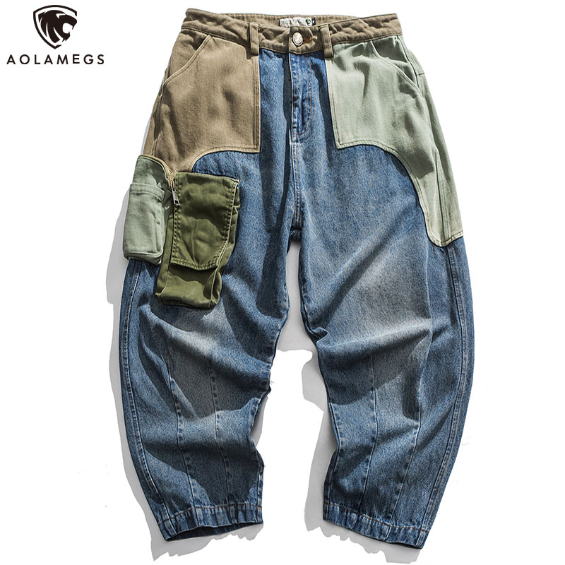 Aolamegs Jeans Men Patchwork Multi-Pocket Denim Pants Beggar Style Japanese Retro Jeans Autumn High Street Casual Men Streetwear