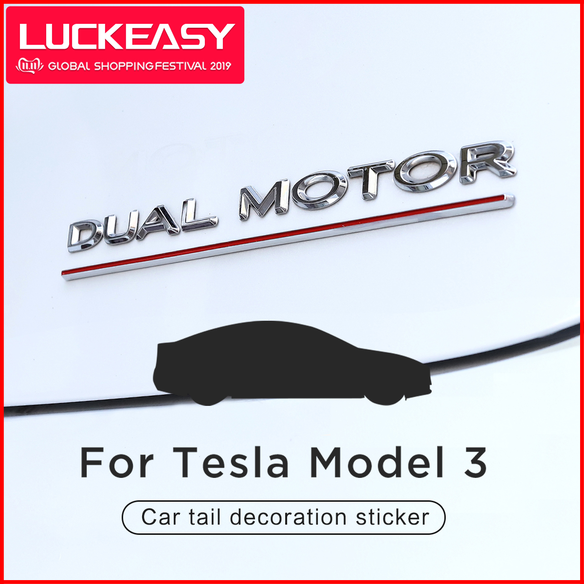 LUCKEASY Car Tail Decoration Sticker For Tesla Model 3 2017 2018 2019 High Performance Metal Standard Car Tail Sticker