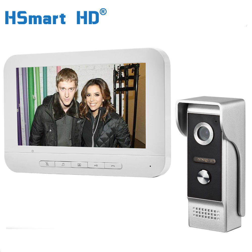 7 Inch Wired Video Door Phone Visual Video Intercom Speakerphone Intercom System With Waterproof Outdoor IR Camera