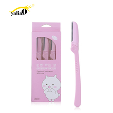 YALIAO 3pcs Pink Eyebrow Trimmer Stainless Steel Blade High Quality Razors Face Hair Removal Foldable Blades Shaver