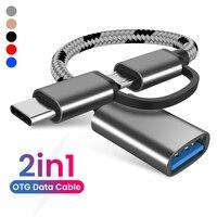 2 In 1 Otg Adapter Kabel Nylon Gevlochten Usb 3.0 Naar Micro Usb Type C Data Sync Adapter Voor Huawei voor Macbook U Disk Type-C Otg