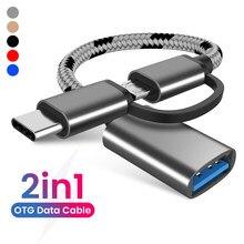 Adaptateur de synchronisation de données 2 en 1, câble en Nylon tressé USB 3.0 à Micro USB type-c, pour Huawei MacBook U Disk type-c OTG