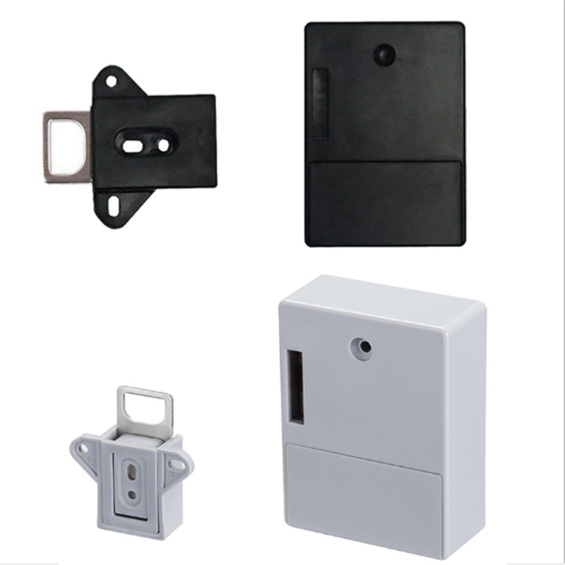 2Pcs Invisible RFID Free Opening Intelligent Sensor Cabinet Lock Locker Wardrobe Shoe Cabinet Drawer Door Lock Electronic Dark L