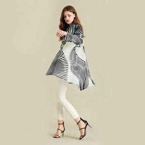Image 3 - LANMREM White Stripe Long Sleeve Large Lapel Pleated Woman Cardigan Thin Jacket Casual Simple Fashion 2020 autumn Coat New TV586