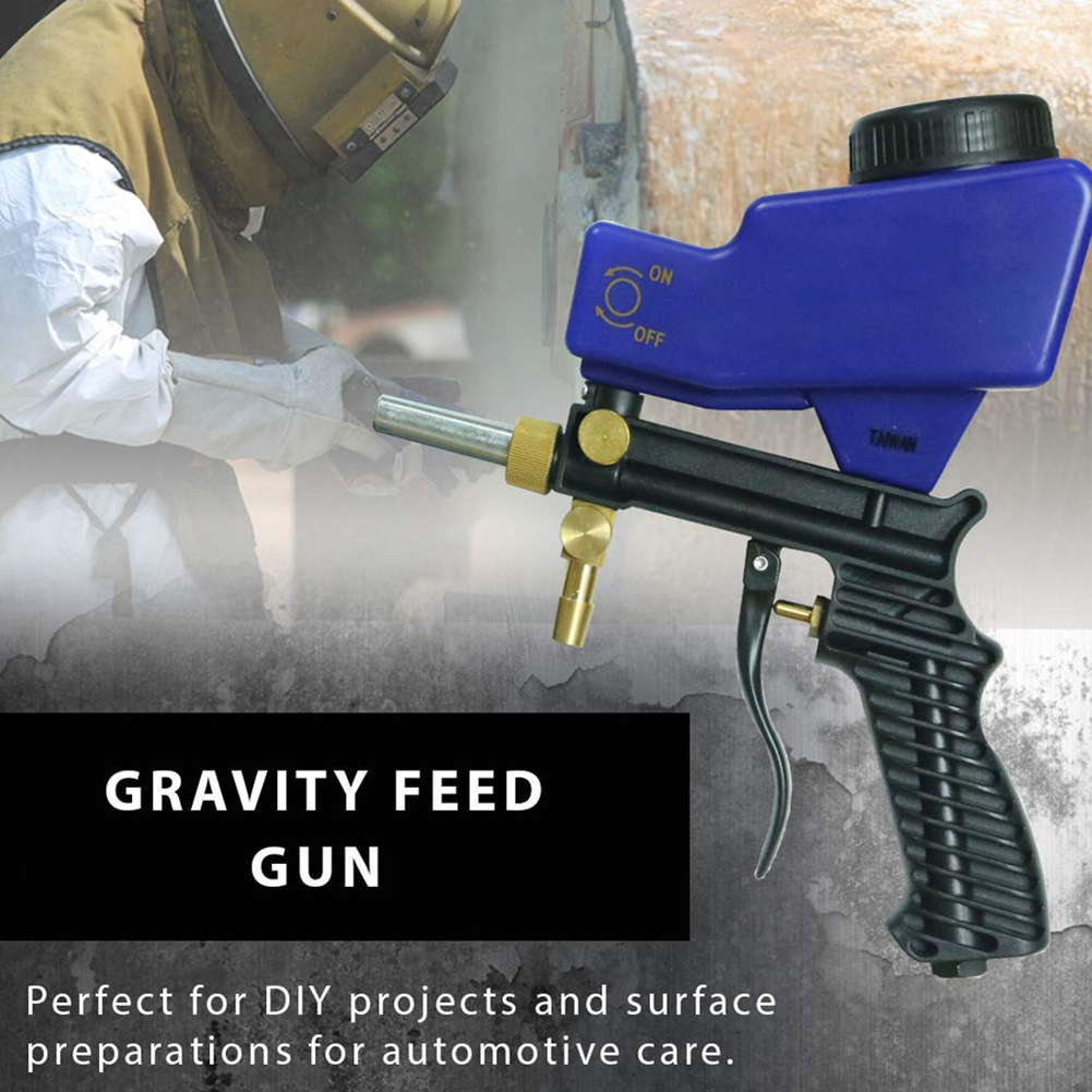 Small Portable Sand Blaster Gravity Sandblasting Gun Pneumatic Small Sand Blasting Machine Adjustable Pneumatic Sandblasting Set in Spray Guns from Tools
