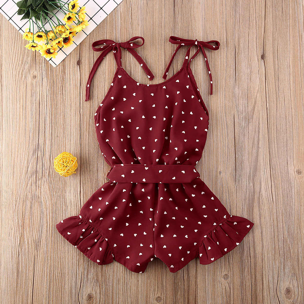 Newborn Baby Girl Summer Sleeveless Romper Jumpsuit Heart Print Outfit Clothes