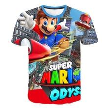 2019 Happy Birthday Cartoon Super Mario 3D Print Kids T shirt Baby Funny T-shirt Boy/Girl Number Clothes Kid Gift Shirt