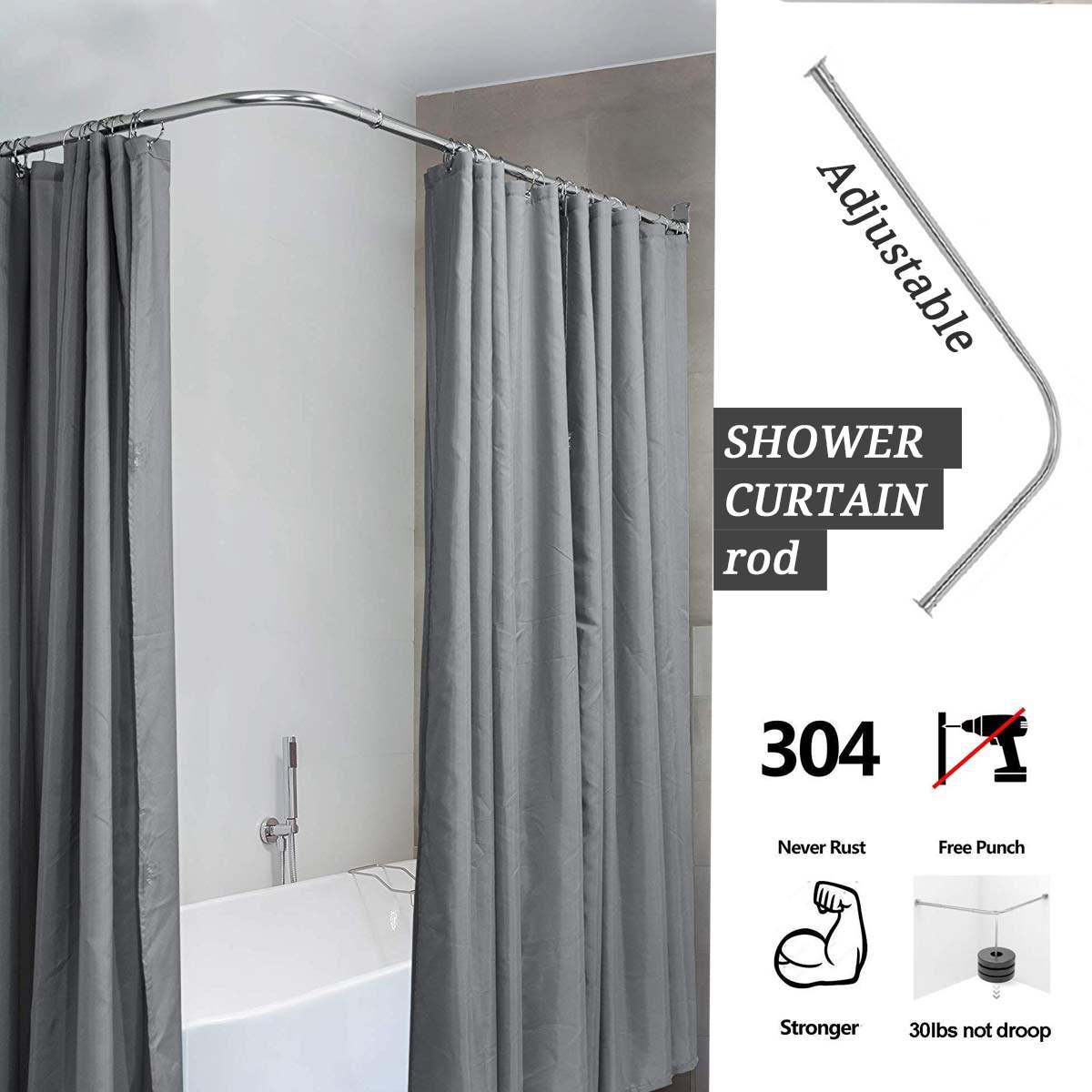 Barra curvada extensible para Cortina de ducha, postes de acero inoxidable 201 EN forma de U, sin perforación, riel para cortina de baño, 6 tamaños