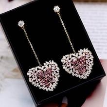 Beilan High Quality Pink/Clear Cubic Zirconia Heart Long Drop Earrings Women Fashion Korean Gold/Silver Color Earring YEA067
