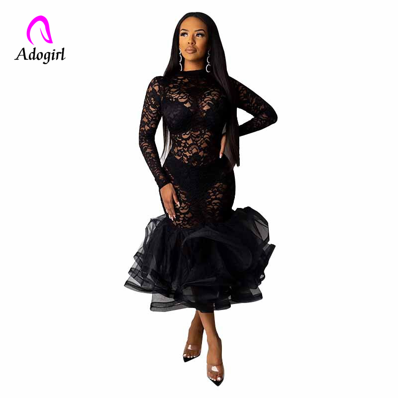 Black Organza Ruffle Sheer Lace Party Dress 2020 Spring Mock Neck Long Sleeve Mermaid Evening Gown Maxi Club Party Dress Vestido