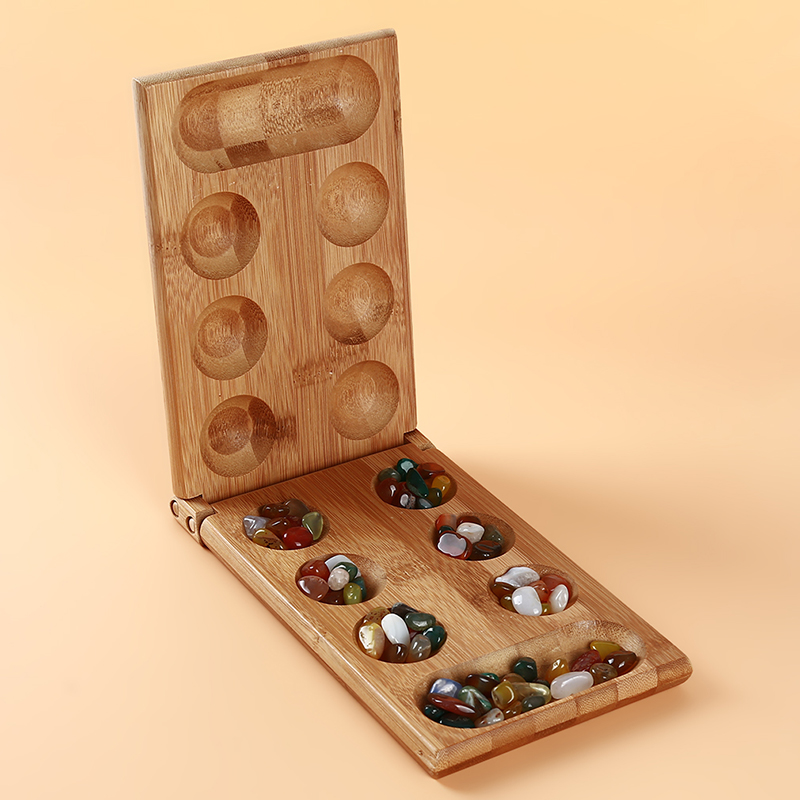 Children's Educational Toys Board Game Folding Bamboo Board Natural Agate Stone Travel Game For Children Board Strategy Game