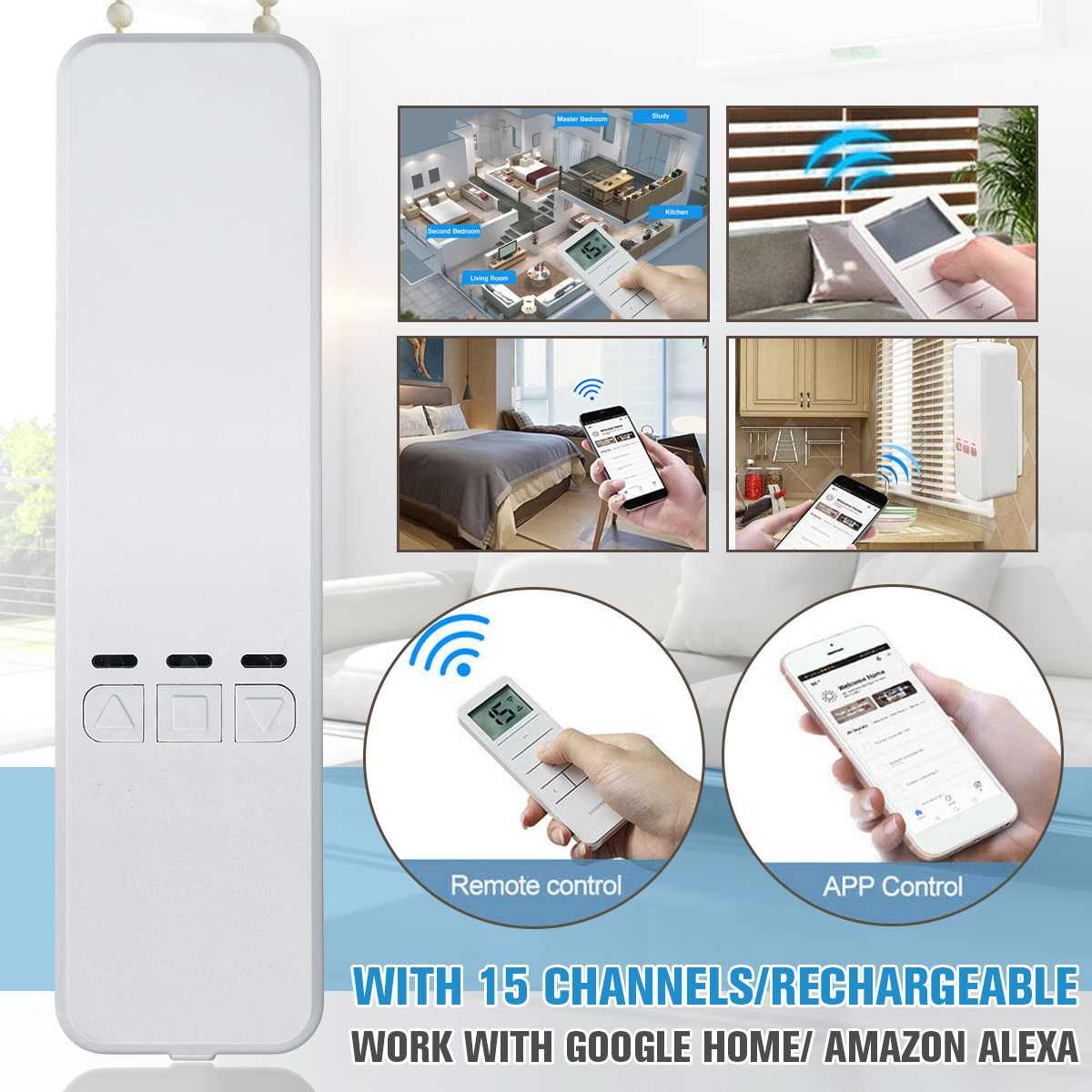 WIFI Tuya Smart Chain Curtain Motor Alexa/Google Control Roller Blinds Motor By MOBILE/REMOTE Control Curtain Builti In Battery