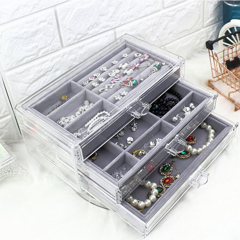 Fashion Acrylic Jewelry Storage Box Jewelry Tray Display Ring Earring Case Necklace Pendant Display Jewelry Box Organizer