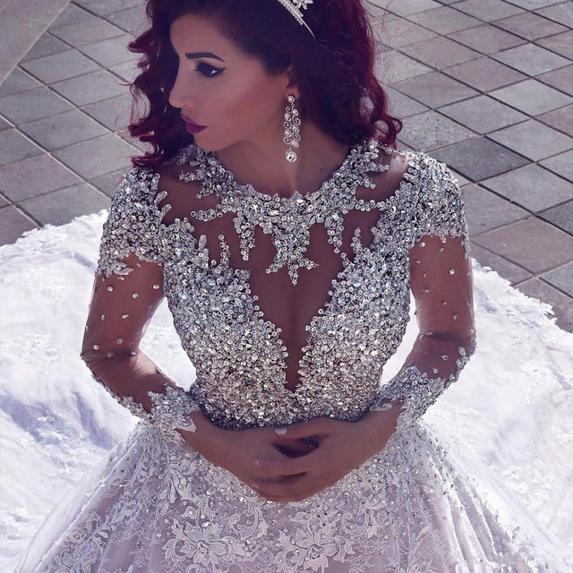 2021 Luxury Beading Long Sleeve Muslim Wedding Gowns With Long Train Sequined Lace Wedding Dresses Turke Robe De Mariage 1