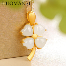 Pendant Necklace Jewelry Four-Leaf S925-Sterling-Silver Natural Hetian Jade Fine Luomansi