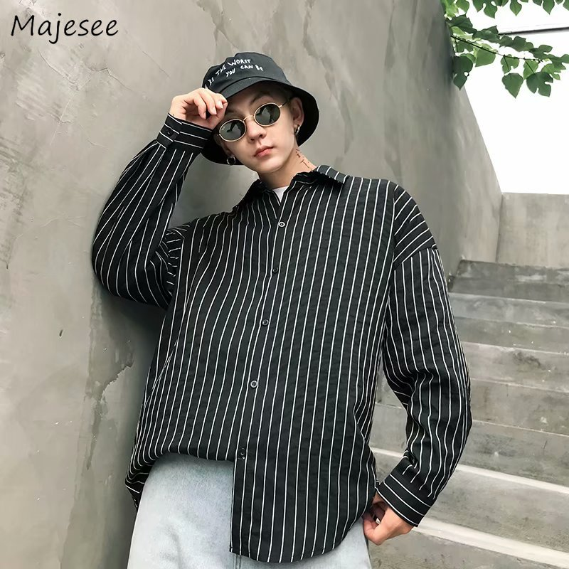 Shirts Men 2020 Long Sleeved Stand Collar Striped Simple All-match Korean Shirt Mens Single Breasted Trendy Ulzzang Students Top