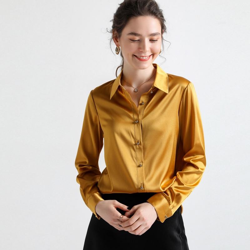 Женская модельная рубашка из 100% натурального шелка, офисная блузка с отложным воротником и длинными рукавами