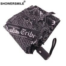 SHOWERSMILE Black White Newspaper Print Umbrella Automatic Rain Women Men Three Folding Fashion Parapluie