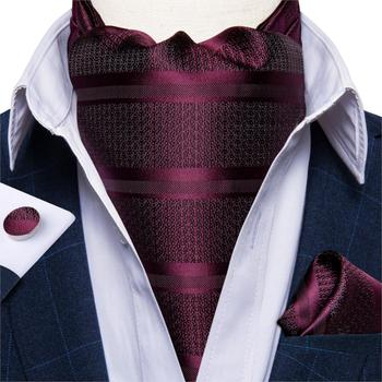 Luxury Mens Ascot Tie Set Vintage Wine Red Striped Silk Wedding Formal Necktie Cravat Handkerchief Cufflinks 3pcs DiBanGu