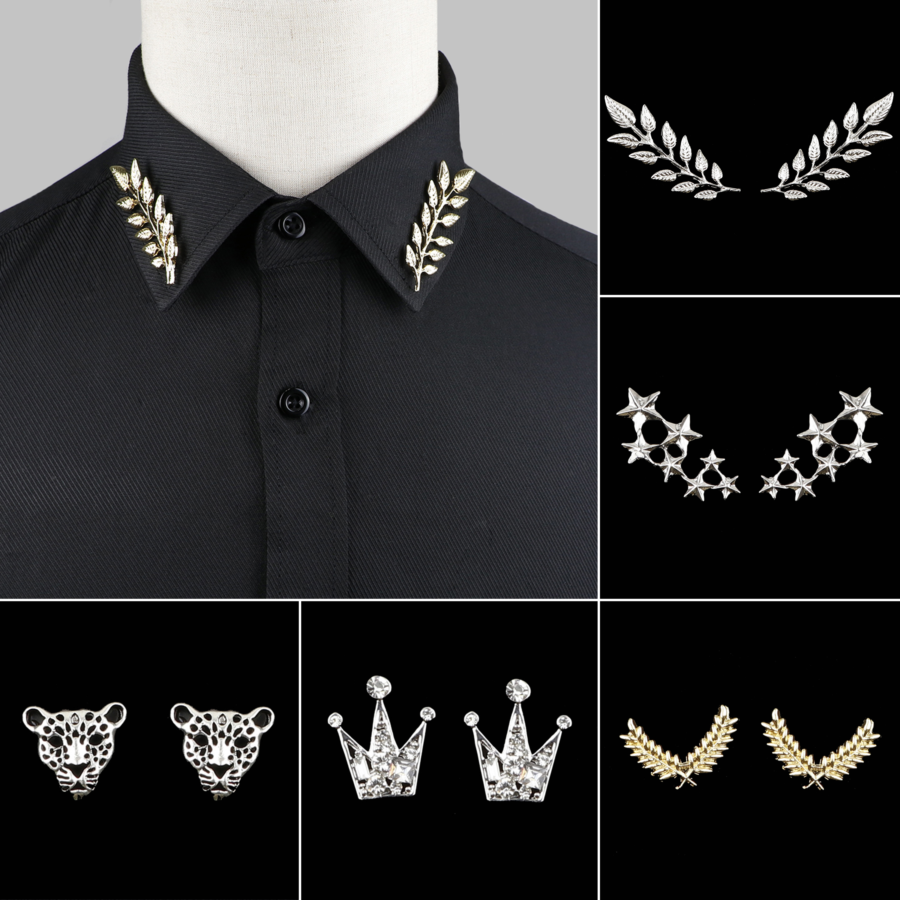 1 Pair Trendy Suit Shirt Collar Pin Tree Leaf Dragon Leopard Hollowed Triangle Crown Brooches For Men Women Daily Wear Accessory