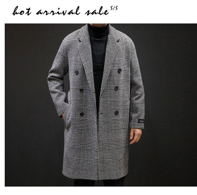 YASUGUOJI Casual Double Breasted Mens Wool Overcoat Winter 2019 Houndstooth Jacket Men Turn-down Collar Long Woollen Wind Coat 8