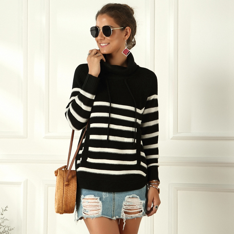 Long Sleeve Turtleneck Pullovers And Sweaters Women Black White Stripe Casual Jumpers 2019 Autumn Winter Ladies Knitted Sweaters