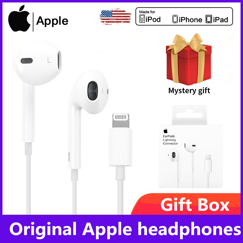 Original Apple Earpods 3 5mm Plug  amp  LightningEarphones iPhone 6  8 Plus X 11 iPhone12 Headset For iPhone iPad  Sport Earbuds