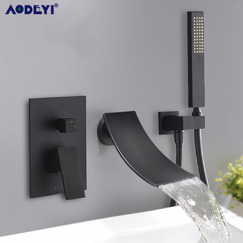 Brass Waterfall Bathtub Mount Shower set Mixer Valve 2 Function Water Mixer Taps Shower Faucet Bath Spout Shower modern bathroom waterfall bathtub faucet set deck mount 5 holes mixer taps tub mixer taps chrome finish