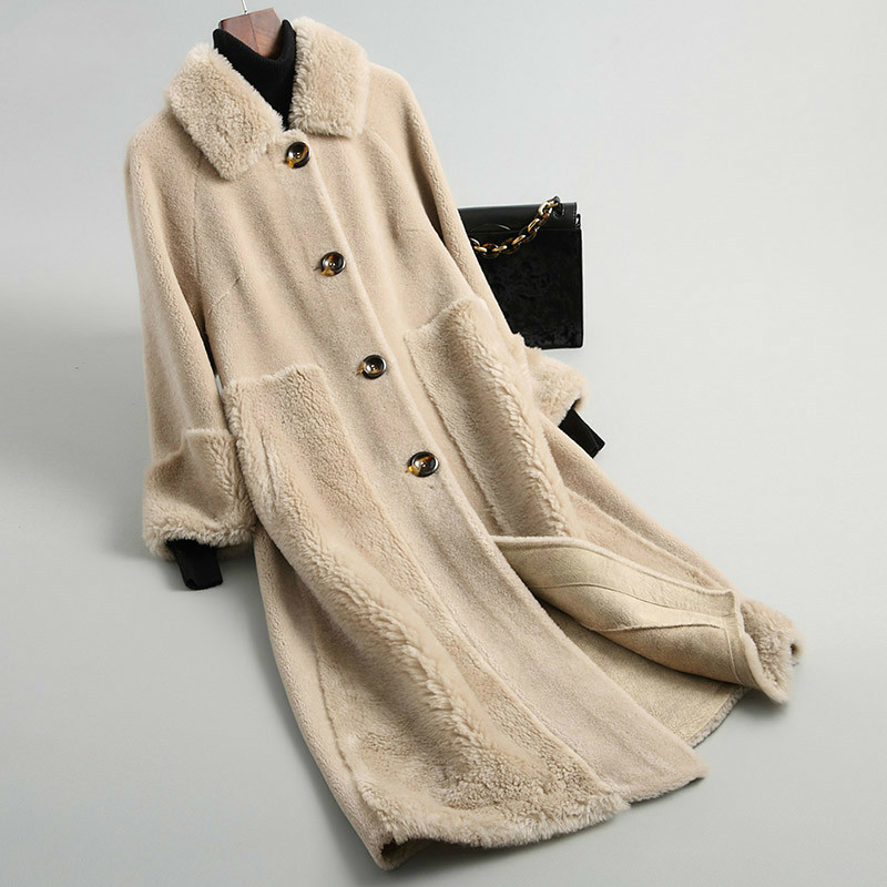 Autumn Winter Coat Women Clothes 2020 Korean Vintage Real Fur Coat Wool Jacket Sheep Shearling Suede Lining Women Tops ZT3507