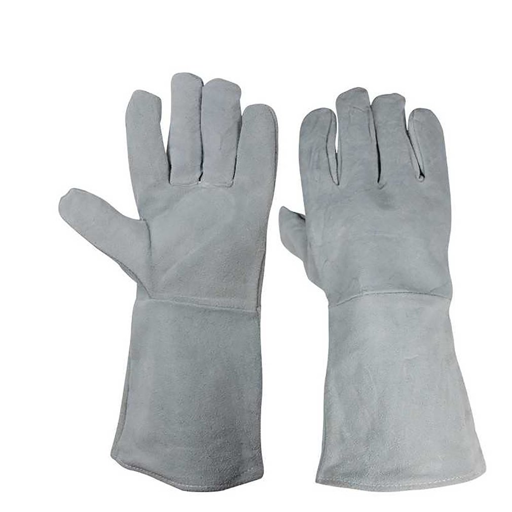 A Pair/Set Fireproof Durable Cow Leather Welder Gloves Anti-Heat Work Safety Gloves For Welding Metal Hand Tools