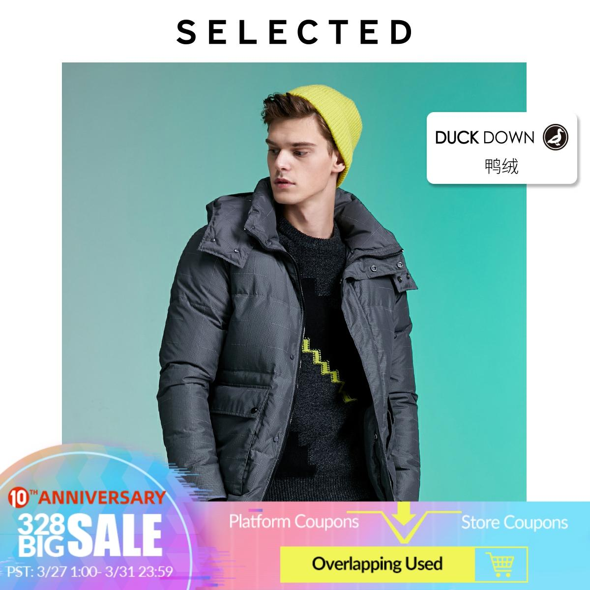 SELECTED Men's Contrasting Plaid Down Jacket Winter Parka Outwear Warm Male Coat L|419412570