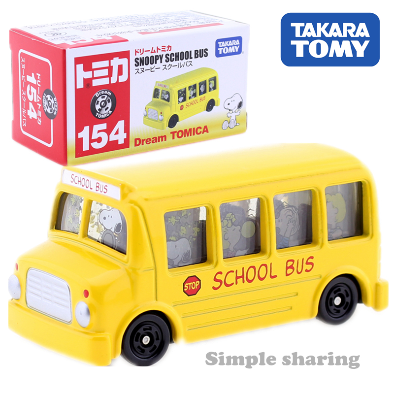 Takara Tomy Dream Tomica No.154 SNOOPY SCHOOL BUS Model Kit Miniature Diecast Baby Toys Hot Pop Kids Doll Funny Magic Bus Bauble