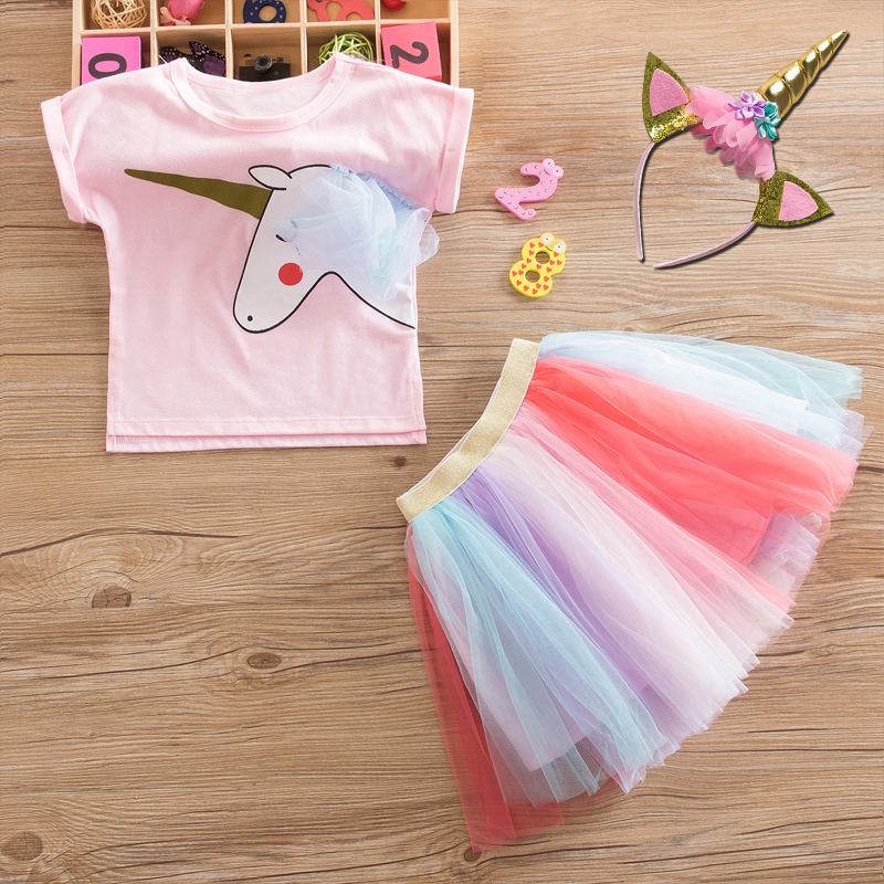 Summer Dress Girl Unicorn Party Costume Kids Girls Clothes Baby Girl Princess Dresses Children Casual Wear Tulle Birthday Oufits 1