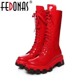 Image 1 - Женские ботинки до середины икры FEDONAS, черные однотонные мотоботы из натуральной кожи, обувь на платформе для вечеринки на осень 2020